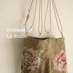 フランスアンティーク麻布にパッチワーク刺繍をしたポシェット